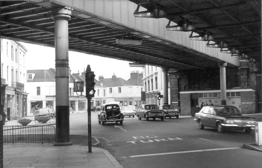 View of High Street underneath the Railway bridges, Leamington Spa.  1967 |  IMAGE LOCATION: (Warwickshire County Record Office)