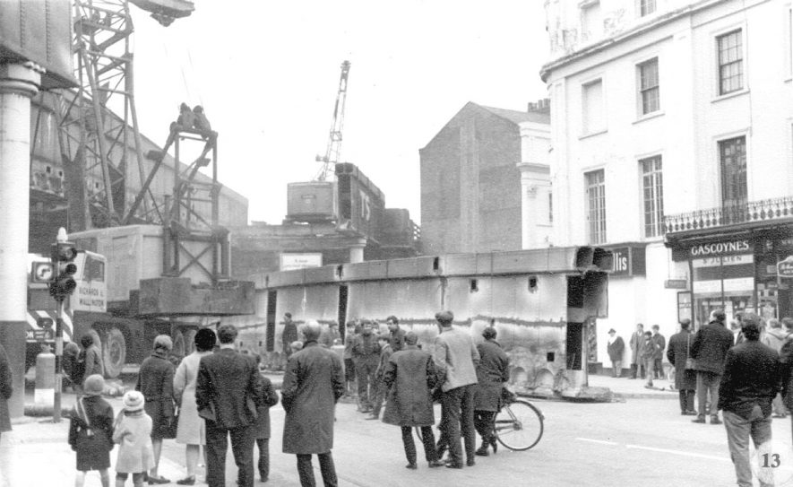 Demolition of railway bridges at High Street, Leamington Spa.  A side of the bridge rests on the road.  1968 |  IMAGE LOCATION: (Warwickshire County Record Office)