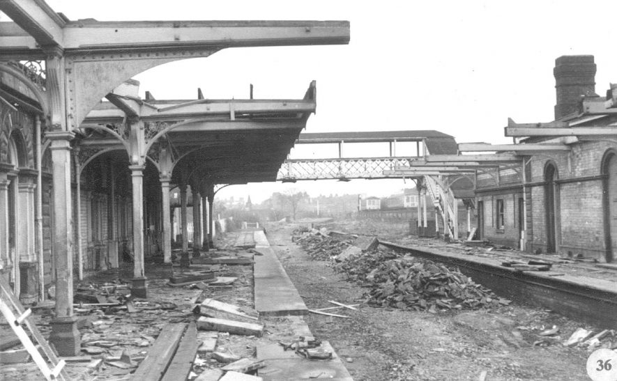 Demolition of Avenue Road station, looking east, Leamington Spa.  1968 |  IMAGE LOCATION: (Warwickshire County Record Office)
