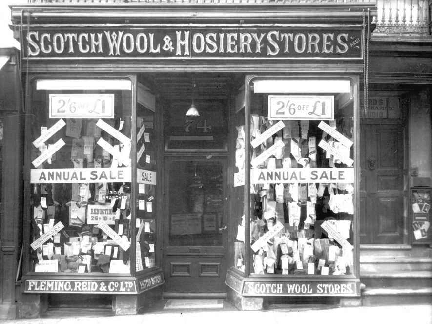 Fleming, Reid & Co. Ltd. Scotch Wool & Hosiery Stores shop front, 74, The Parade, Leamington Spa.  1930s |  IMAGE LOCATION: (Warwickshire County Record Office)