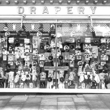 Leamington Spa.  Woodward's drapery shop window