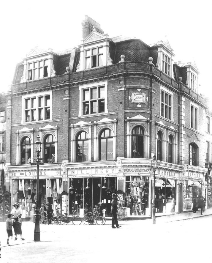 Woodward's Store shop front on corner of The Parade and Regent Street, Leamington Spa.  1930s |  IMAGE LOCATION: (Warwickshire County Record Office)
