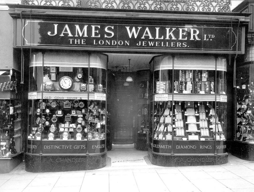 James Walker Ltd., Jewellers. 100, The Parade, Leamington Spa.  1930s |  IMAGE LOCATION: (Warwickshire County Record Office)