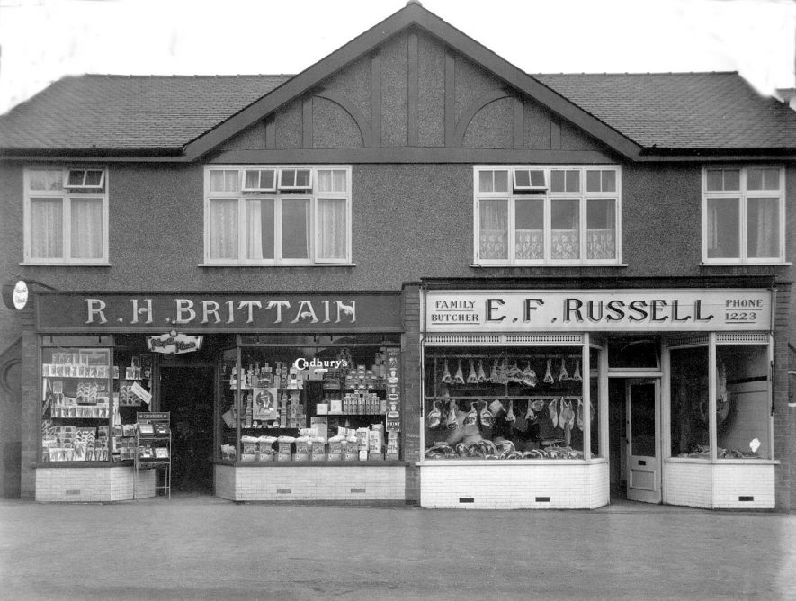 128 & 130  Cubbington Road Leamington Spa, R.H. Brittain, tobacconist , grocer & seedsman and E. F. Russell, butcher.  1930s [These shops are in Lillington and not Leamington Spa as shown.] |  IMAGE LOCATION: (Warwickshire County Record Office)