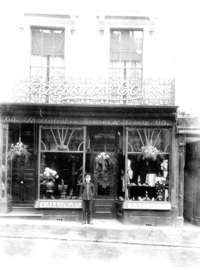 Shop front of Galloway & Co., hosiery and footwear, at 65, The Parade, Leamington Spa.  1920s |  IMAGE LOCATION: (Warwickshire County Record Office)