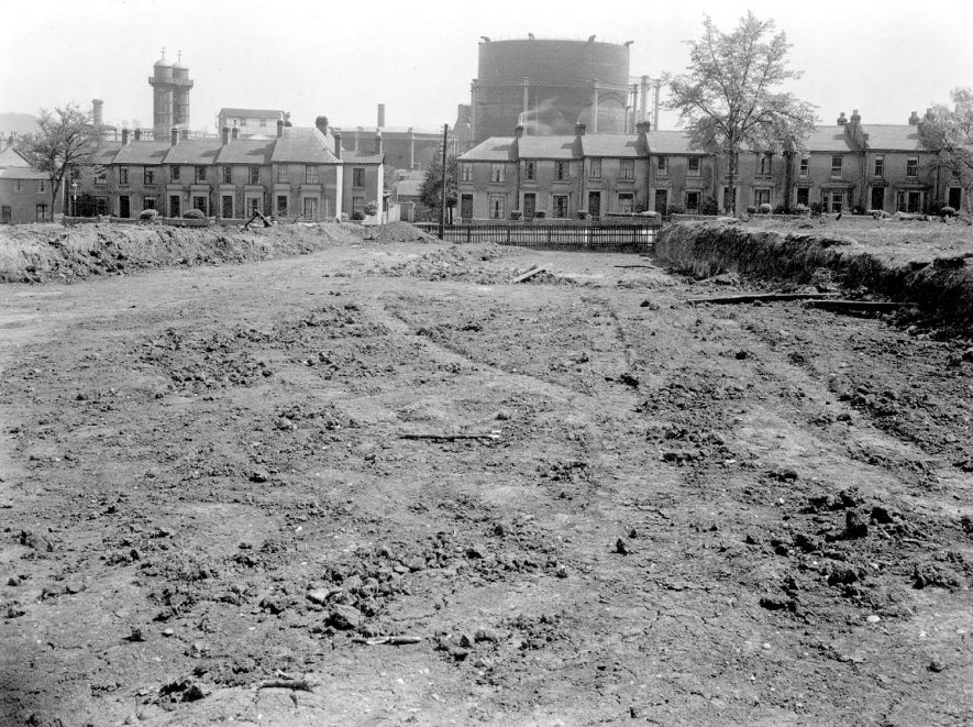 Shrubland Hall estate, Leamington Spa, after clearing looking towards the Gasworks.  1930s |  IMAGE LOCATION: (Warwickshire County Record Office)