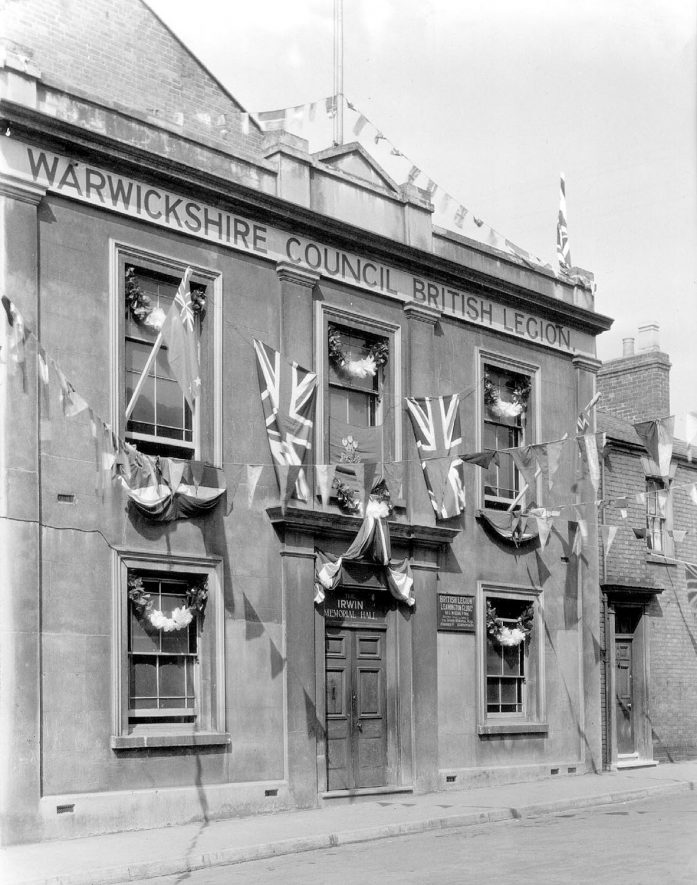 British Legion Headquarters, Kenilworth Street, decorated for the coronation of George VI, Leamington Spa.  1937 |  IMAGE LOCATION: (Warwickshire County Record Office)