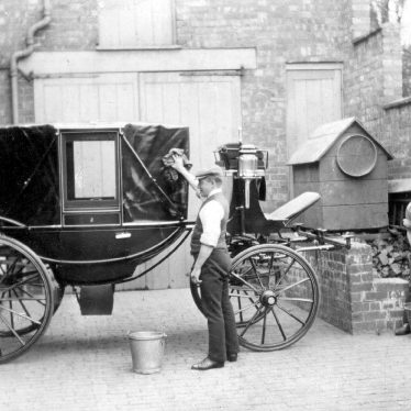 Leamington Spa.  Carriage in courtyard of Raford Cottage