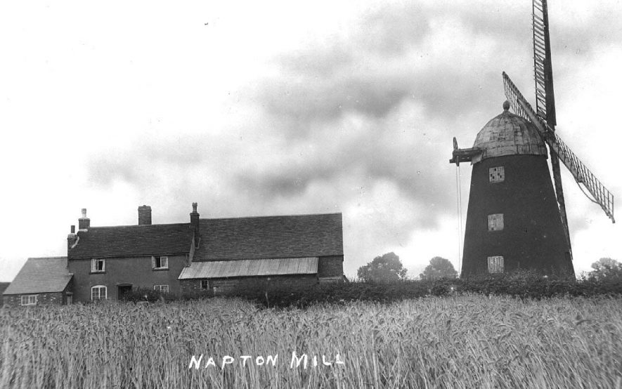 Napton Mill, windmill and nearby buildings.  c.1910  Built around 1835; originally had 2 common and 2 spring sails and three pairs of stones. Ceased work by sails c.1900 and by steam c.1909. Repaired 1972-73 including 4 patent sails, but 2 blew off in a gale January 1976.  Derelict but in fair condition. Red brick tower (tarred) with distinct batter on stone foundations. Two adjacent shutter-type sails, aluminium covered dome cap with windows & acorn finial. |  IMAGE LOCATION: (Warwickshire County Record Office) IMAGE DATE: (c.1910)