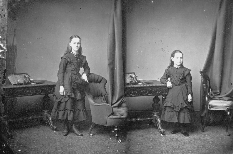 Portrait of two children with the surname Bollans.  1873 |  IMAGE LOCATION: (Warwickshire County Record Office) PEOPLE IN PHOTO: Bollans as a surname