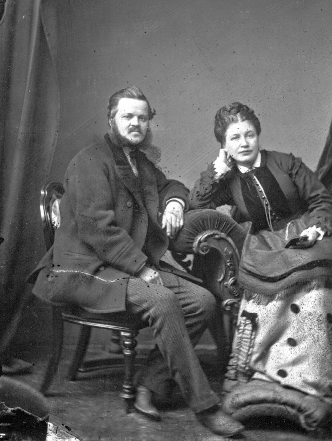 Portrait of a couple with the surname Griffiths.  1874    IMAGE LOCATION: (Warwickshire County Record Office) PEOPLE IN PHOTO: Griffiths as a surname
