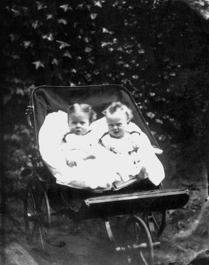 Two babies in a pram.  Names not known.  1875 |  IMAGE LOCATION: (Warwickshire County Record Office)