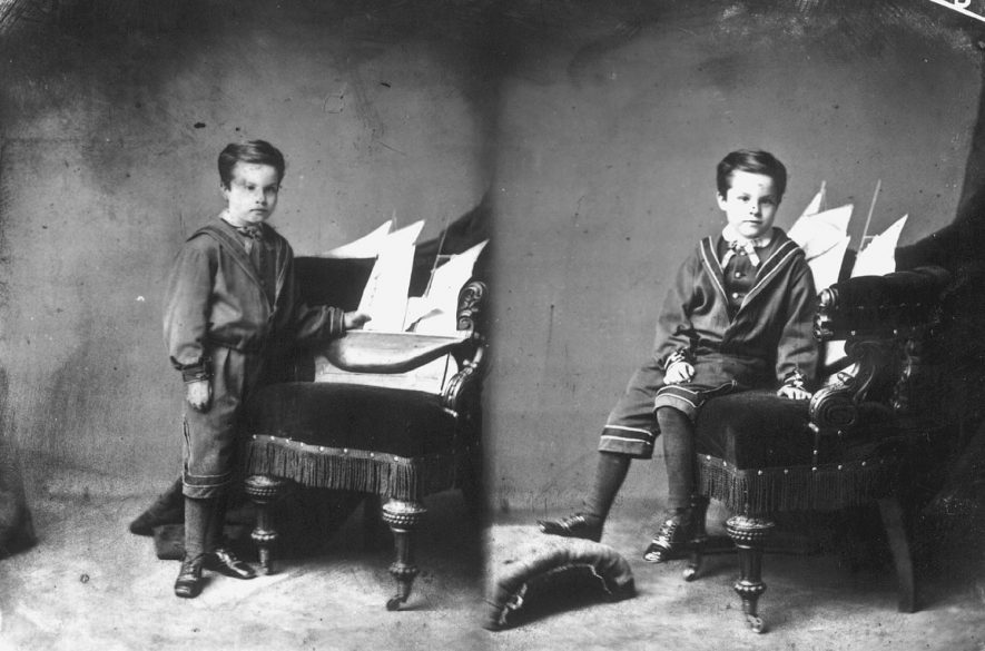 Two photographs of the same boy.  1875 |  IMAGE LOCATION: (Warwickshire County Record Office) PEOPLE IN PHOTO: Fothergill as a surname