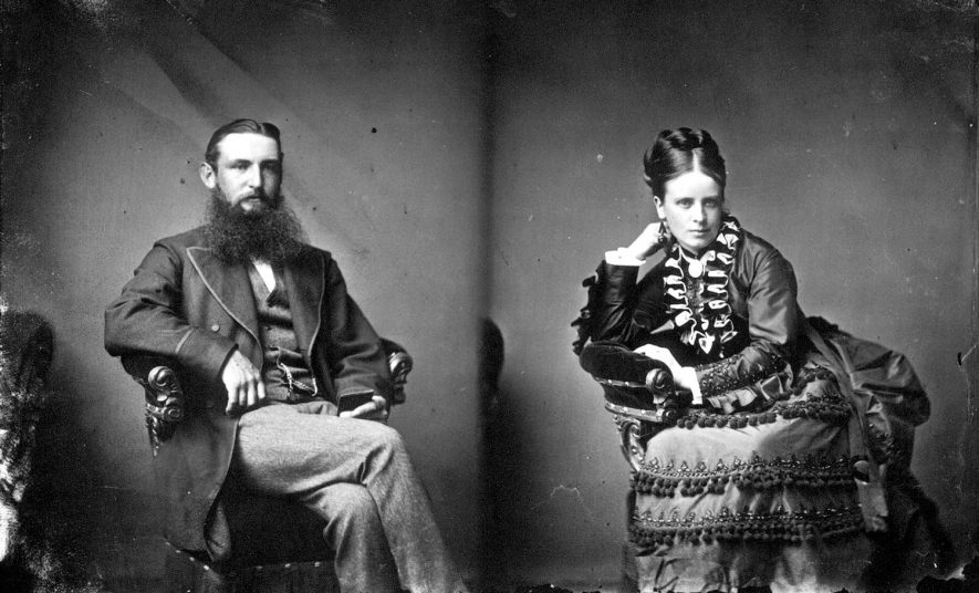 Portrait of a couple with the surname Sabin.  1874 |  IMAGE LOCATION: (Warwickshire County Record Office) PEOPLE IN PHOTO: Sabin as a surname