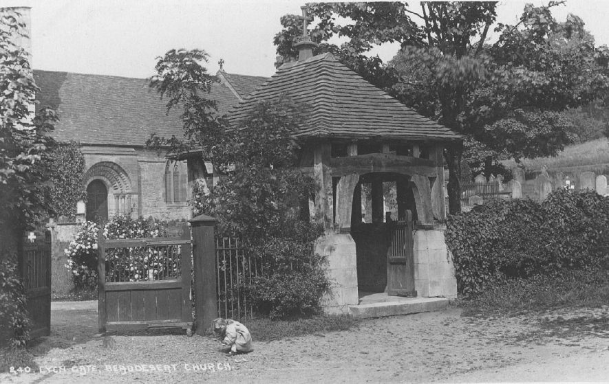 Beaudesert Church with lych gate and churchyard. Norman south door arch.  1900s    IMAGE LOCATION: (Warwickshire County Record Office)