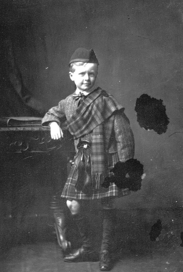 Portrait of a boy, dressed in kilt,  with the surname Whittaker.  1876 |  IMAGE LOCATION: (Warwickshire County Record Office) PEOPLE IN PHOTO: Whittaker as a surname