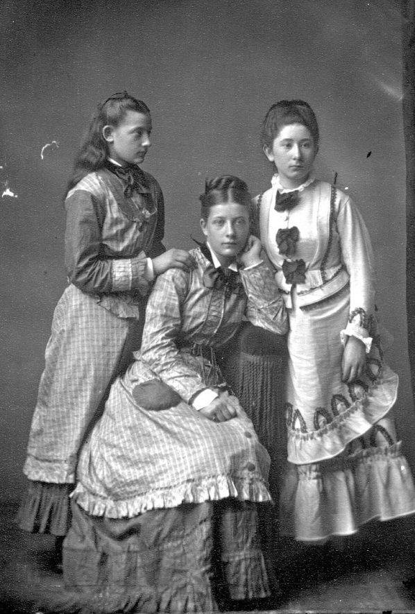 Portrait of three girls with the surname Lewis.  1876 |  IMAGE LOCATION: (Warwickshire County Record Office) PEOPLE IN PHOTO: Lewis as a surname
