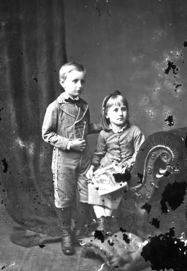 Portrait of two children with the surname Chattock.  1877 |  IMAGE LOCATION: (Warwickshire County Record Office) PEOPLE IN PHOTO: Chattock as a surname
