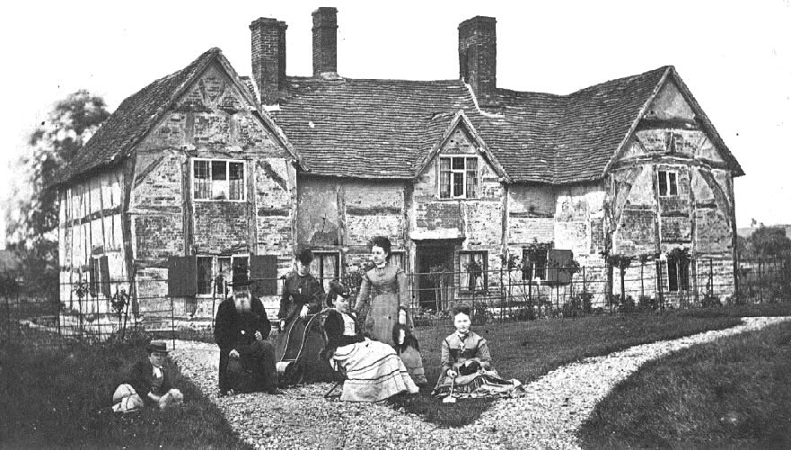 Beaudesert Rectory with family group.  1880s