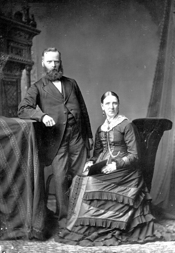 Portrait of a couple with the surname Siddall.  1879 |  IMAGE LOCATION: (Warwickshire County Record Office) PEOPLE IN PHOTO: Siddall as a surname
