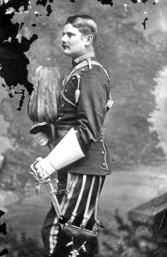 Unnamed soldier in full regimental uniform.  1879 |  IMAGE LOCATION: (Warwickshire County Record Office)