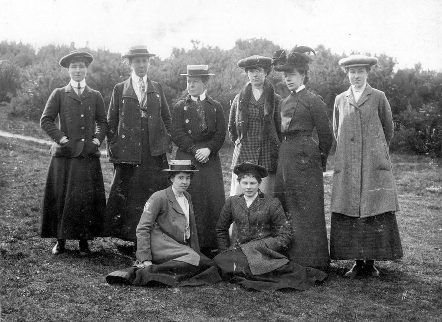 The team of Warwickshire Ladies Golf Club who played Yorkshire at Coventry on April 2nd 1903. Miss A Steadman is on the grass - right. |  IMAGE LOCATION: (Warwickshire County Record Office) PEOPLE IN PHOTO: Steadman, Miss A, Steadman as a surname