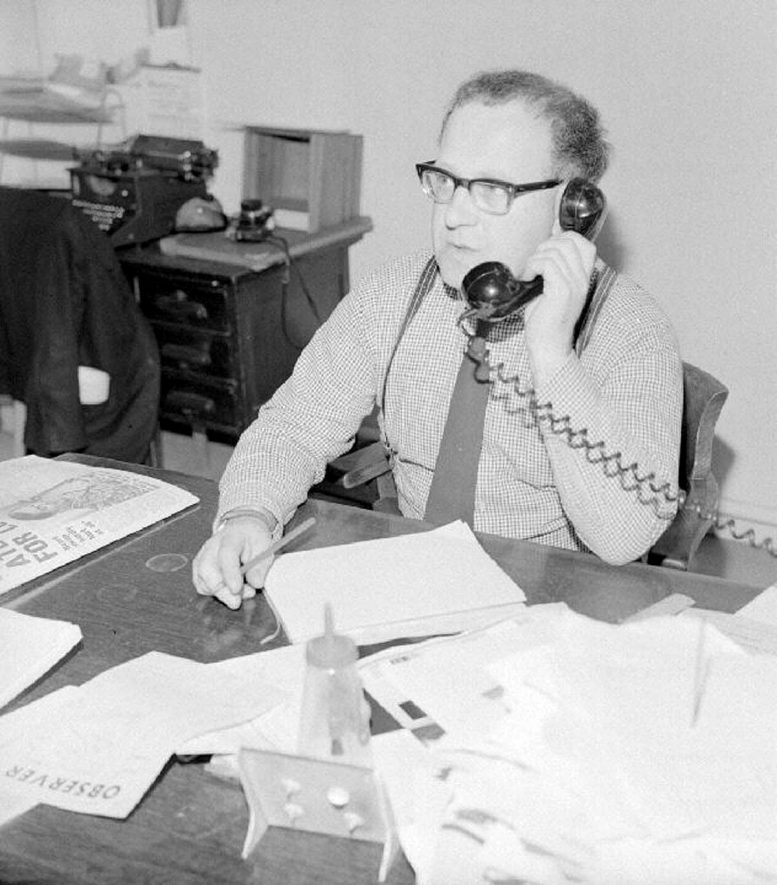 Mr Tom Price, editor of The Nuneaton Observer, sitting at his desk, Bond Gate , Nuneaton.  May 29th 1969 |  IMAGE LOCATION: (Warwickshire County Record Office) PEOPLE IN PHOTO: Price, Tom