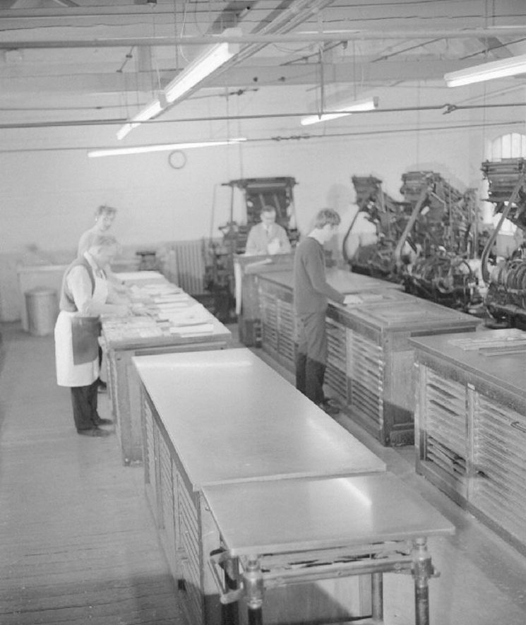 View of the main composing room at The Nuneaton Observer printing works.  May 29th 1968    IMAGE LOCATION: (Warwickshire County Record Office)