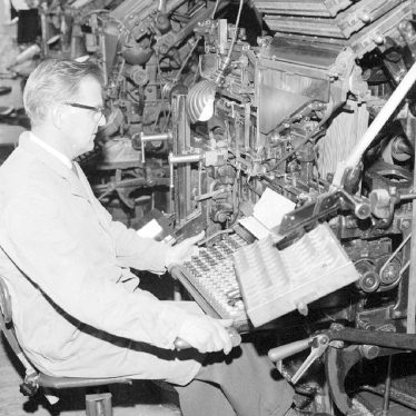 Nuneaton.  H. Fairfield at the Linotype Machine