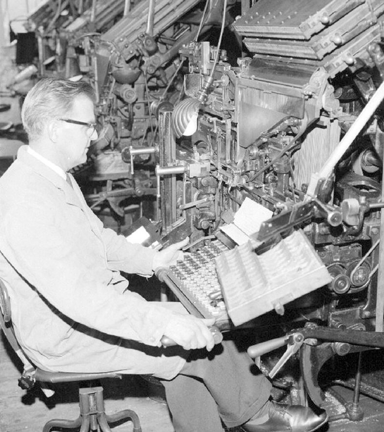 Mr. H. Fairfield at the linotype machine in the main composing room of The Nuneaton Observer.  May 29th 1968