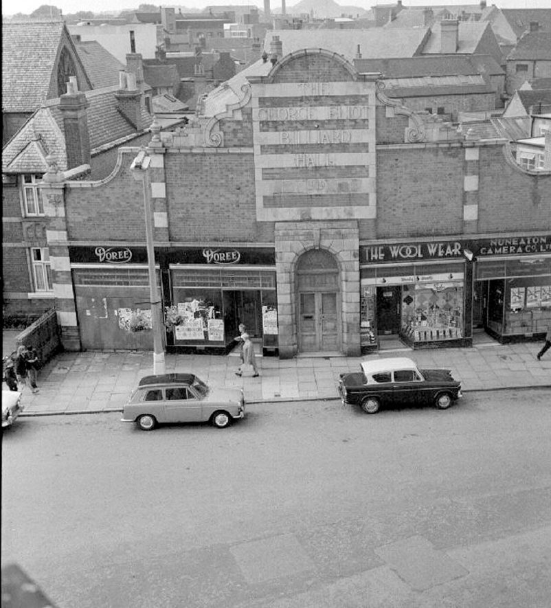 The George Eliot billiard hall, Coton Road, Nuneaton, as seen from The Council House.  July 11th 1968 |  IMAGE LOCATION: (Warwickshire County Record Office)