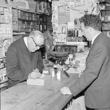 Nuneaton.  R.A. Collett in his ironmongers shop