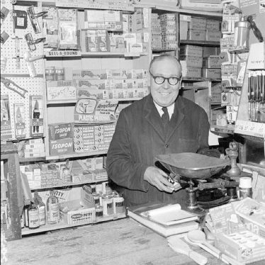 Nuneaton.  R.A. Collett in his ironmongers shop