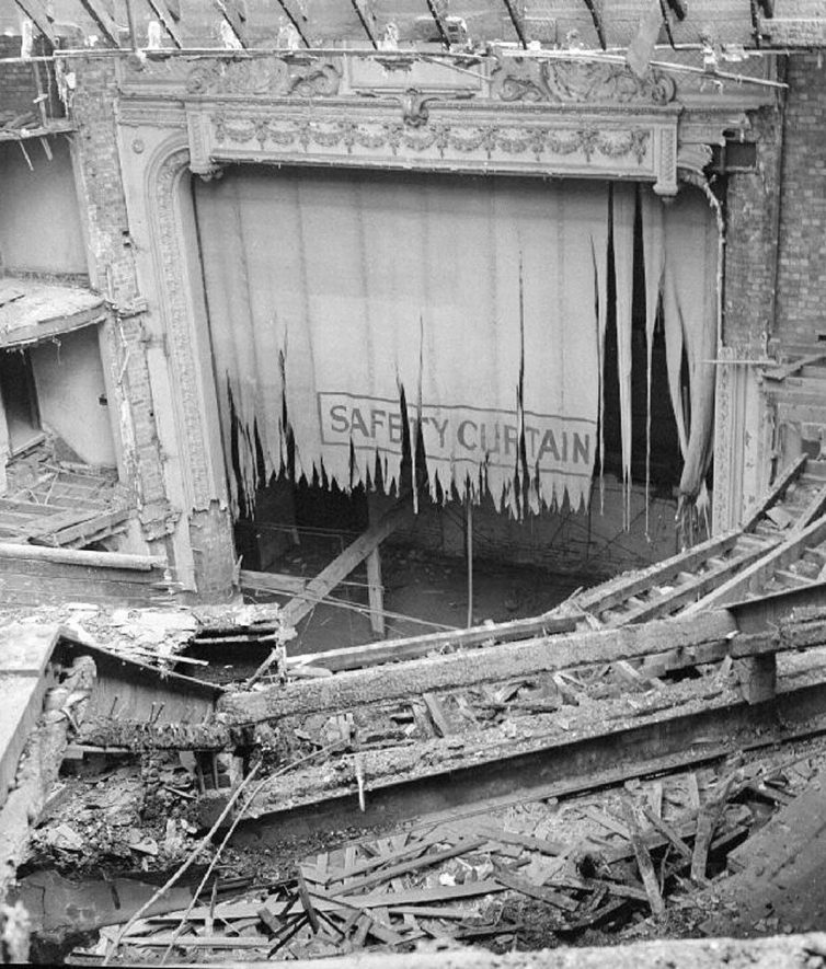 [View from near the entrance to the upper circle looking down to the stage during part demolition of the Hippodrome Theatre,Nuneaton.]  September 14th 1968 |  IMAGE LOCATION: (Warwickshire County Record Office)