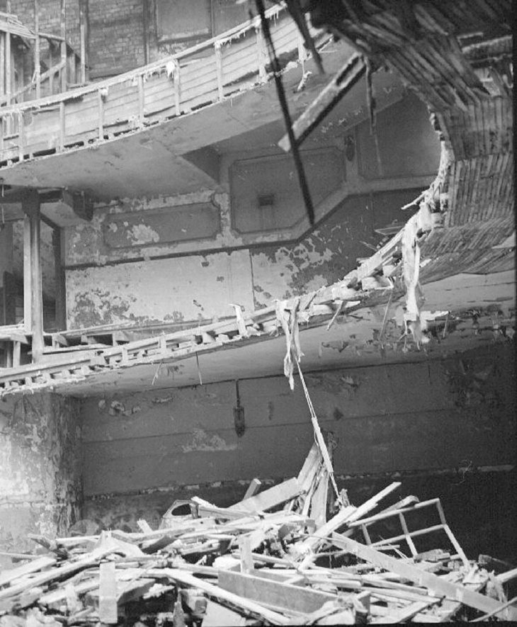 [Part demolition of the Hippodrome Theatre, Nuneaton,showing the view from the stalls looking up to the roof and upper circle.]  September 14th 1968 |  IMAGE LOCATION: (Warwickshire County Record Office)