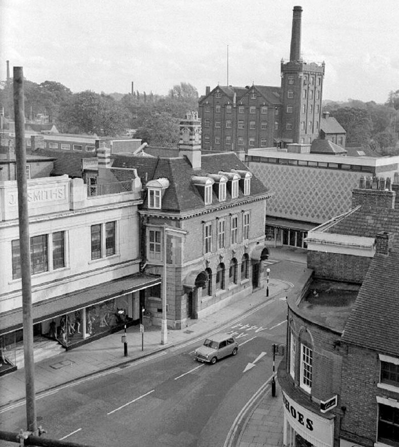 View of Newdegate Square and Nuneaton flour mill taken from the top of The Heron centre.  October 13th 1968 |  IMAGE LOCATION: (Warwickshire County Record Office)