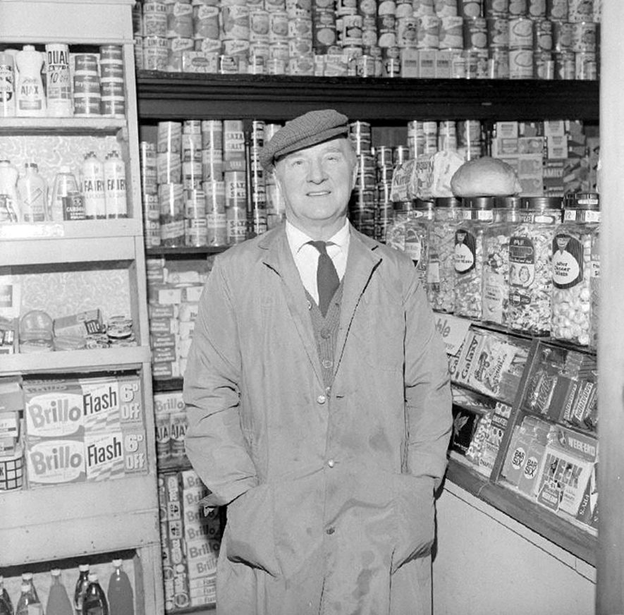George Noon in his grocery shop in Edward Street, Nuneaton.  12 March 1969 |  IMAGE LOCATION: (Warwickshire County Record Office) PEOPLE IN PHOTO: Noon, George, Noon as a surname