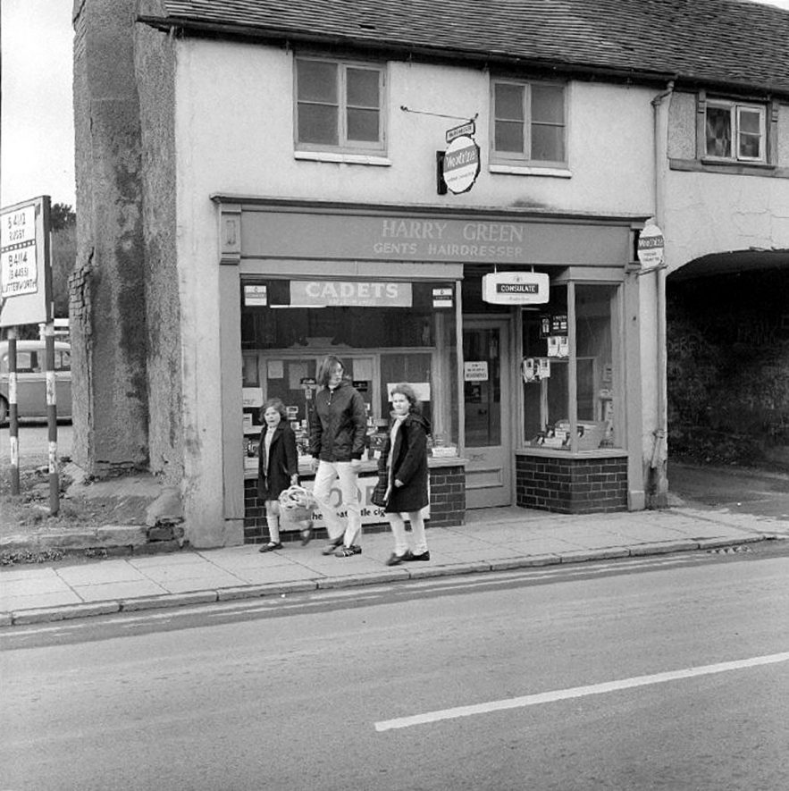 Harry Greens gents hairdressers shop in Bull Street, Nuneaton.  15 April 1969 |  IMAGE LOCATION: (Warwickshire County Record Office)