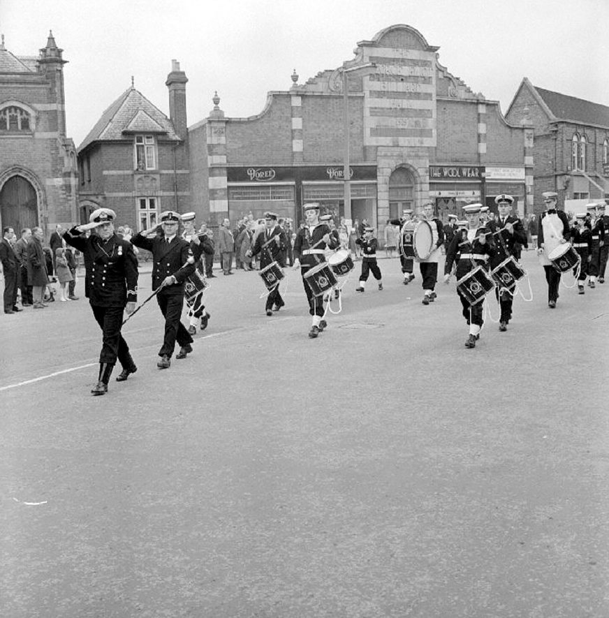 Civic Sunday Parade in Nuneaton.  Showing Sea Cadets as they pass the Council House.  1969    IMAGE LOCATION: (Warwickshire County Record Office)
