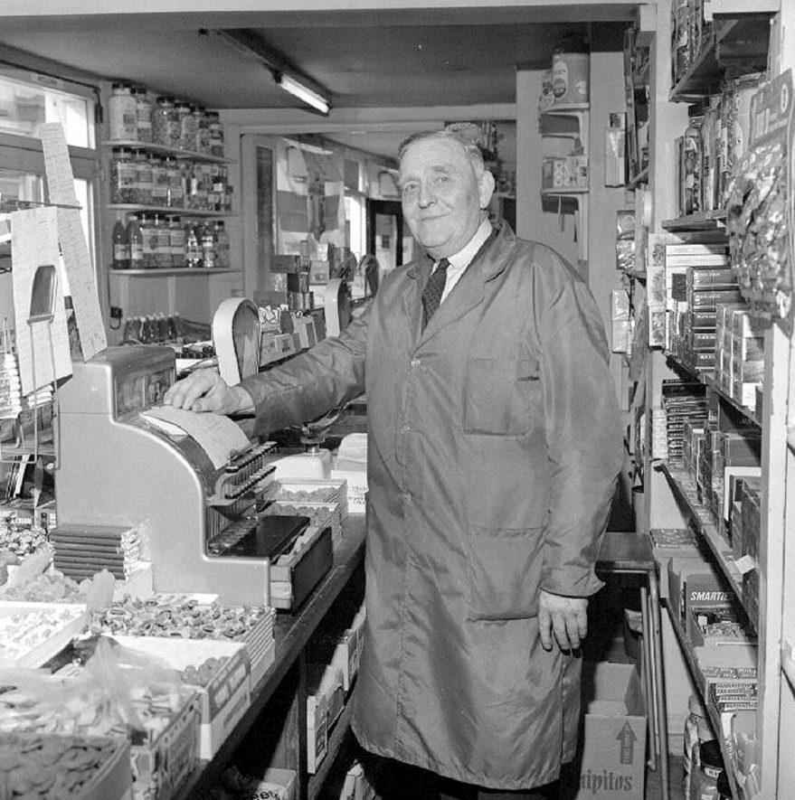 Jack Warren in his sweet shop in Church Street, Nuneaton.  1969 |  IMAGE LOCATION: (Warwickshire County Record Office) PEOPLE IN PHOTO: Warren, Jack, Warren as a surname
