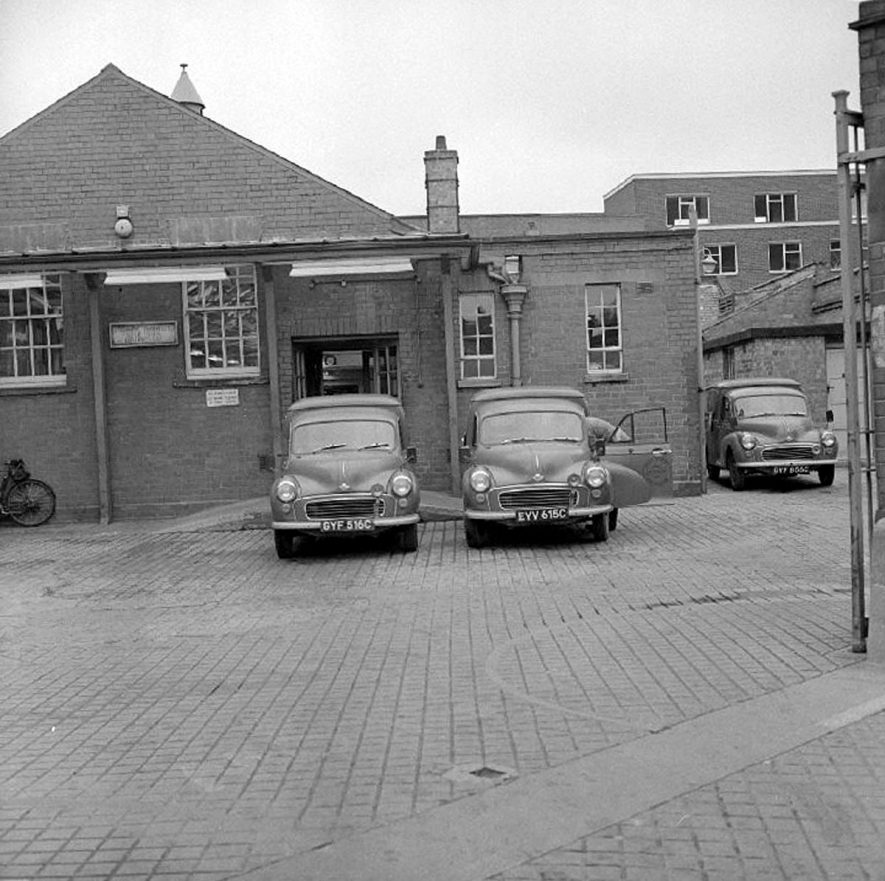 Rear of the General Post Office showing delivery  vans, Nuneaton.  1969 |  IMAGE LOCATION: (Warwickshire County Record Office)