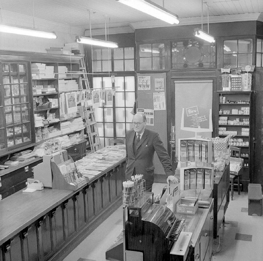 Mr W Cawthorne in his stationers shop in The Market Place, Nuneaton.  1969 |  IMAGE LOCATION: (Warwickshire County Record Office) PEOPLE IN PHOTO: Cawthorne, William L, Cawthorne as a surname