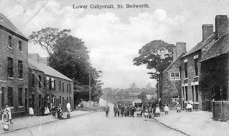 Lower Collycroft, Bedworth.  A street scene showing a group of children in front of a delivery van bearing the name