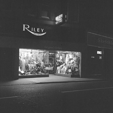 Nuneaton.  Riley's Outfitters by night