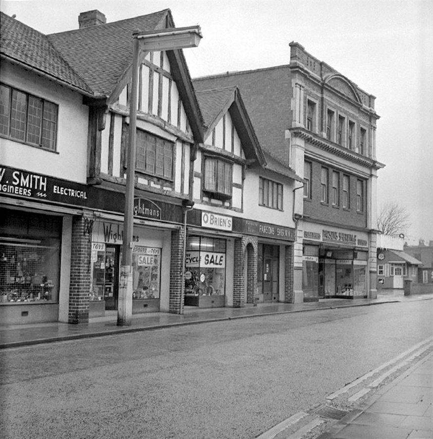 Shops in Newdegate Street, looking towards Bond Gate, Nuneaton.  January 12th 1975 |  IMAGE LOCATION: (Warwickshire County Record Office)