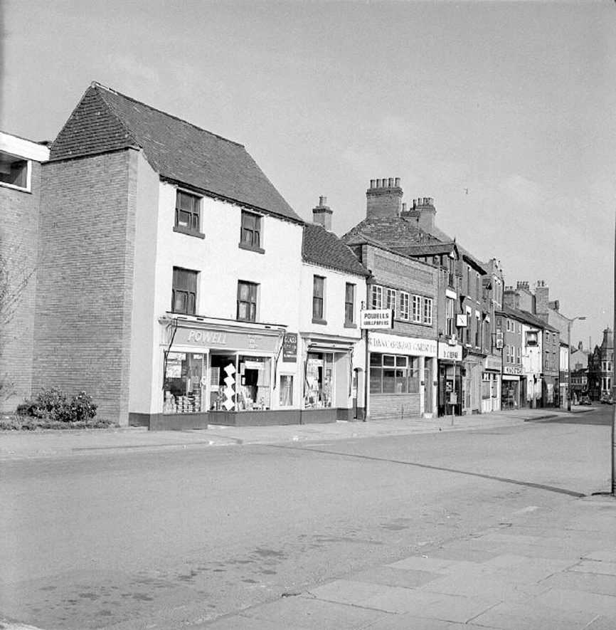 Abbey Street, Nuneaton, with Powell's shop on the left.  23 April 1978 |  IMAGE LOCATION: (Warwickshire County Record Office)