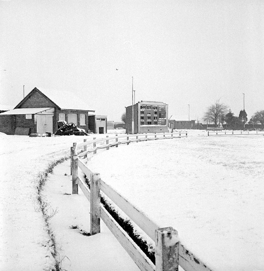 Scoreboard of Griff & Coton Cricket Ground, Heath End Road, Nuneaton.  After snow fall.  20 January 1979 |  IMAGE LOCATION: (Warwickshire County Record Office)