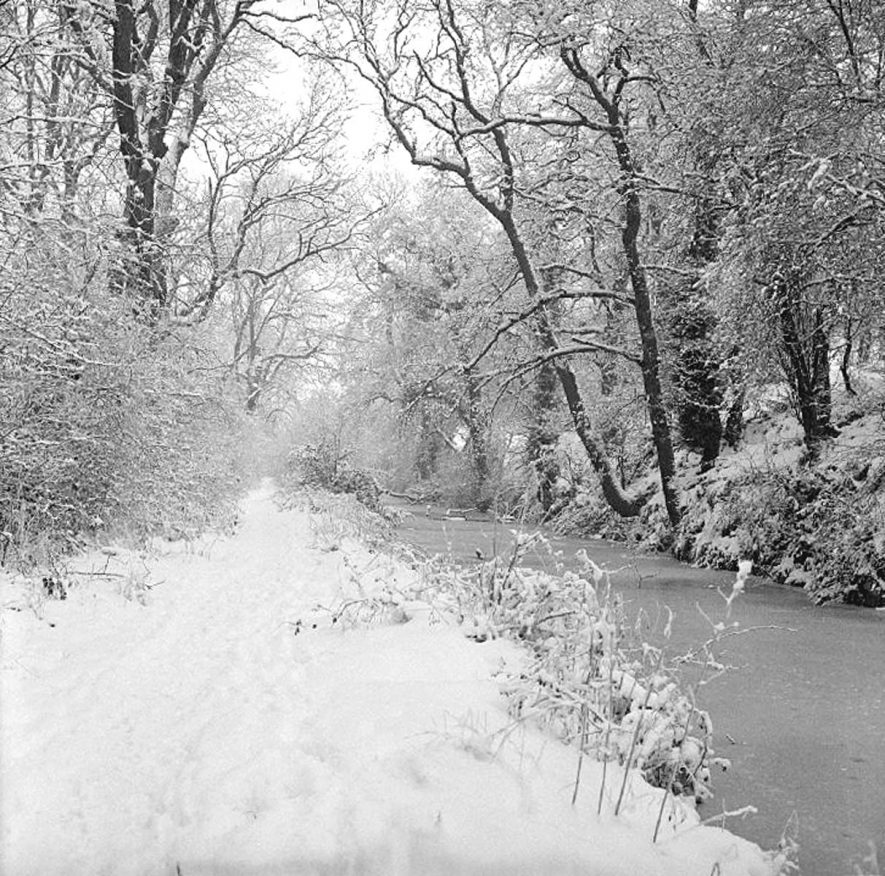 Frozen canal in Red Deeps, near Griff Hollows on 27th January, 1979.