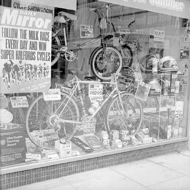 Nuneaton.  Newdegate Street, Halfords window