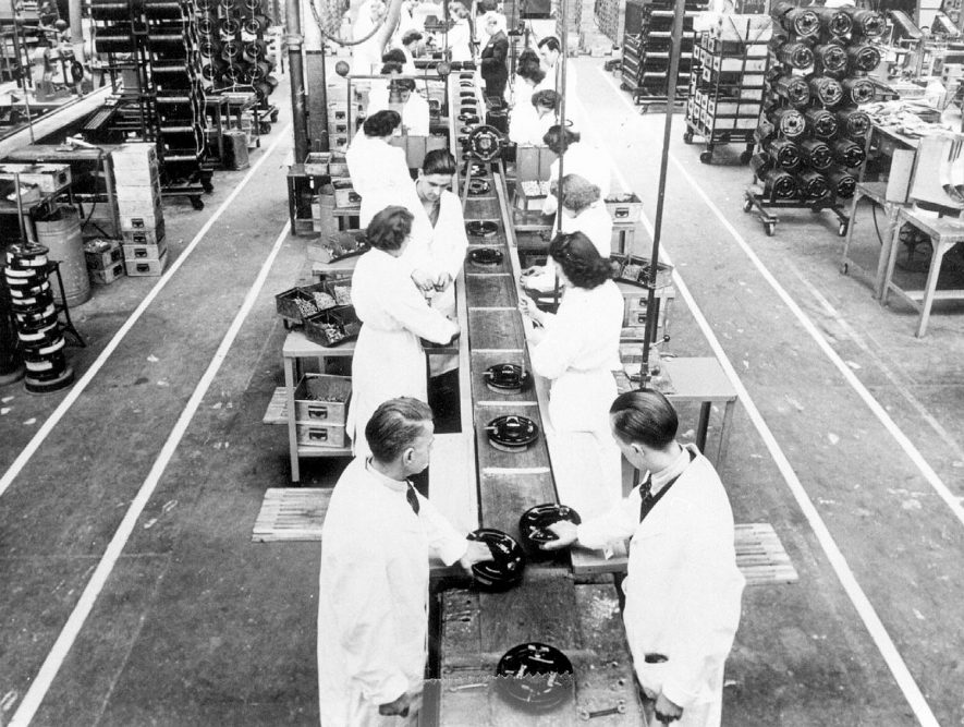 One of the hydraulic brake assembly lines at  Automotive Products.  1947 |  IMAGE LOCATION: (Leamington Library)